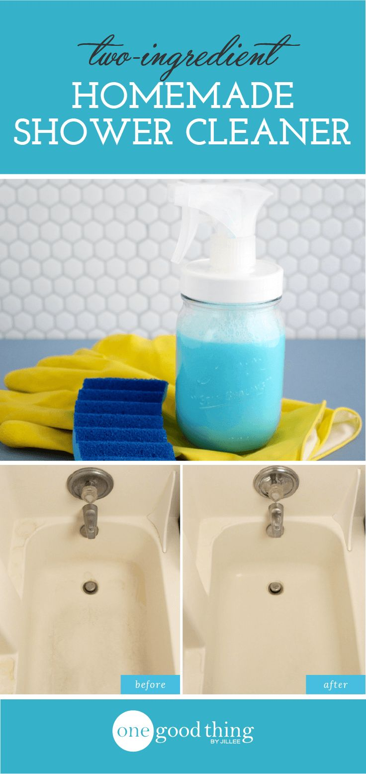 This homemade shower and tub cleaner cuts through stubborn soap scum like nobody's business, plus it clings to the walls and floor, rather than running right down the drain.