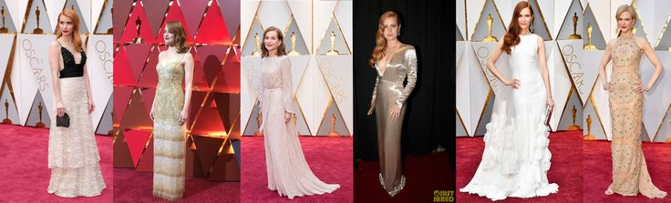 Oscars 2017 Redhead trend...beautiful pale skin and light colored gowns.
