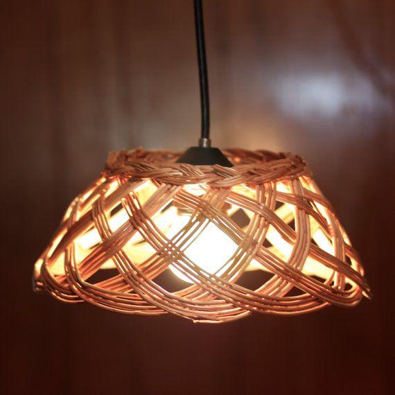 Basket Pendant Light Repurposed Fixture Recycled Lighting