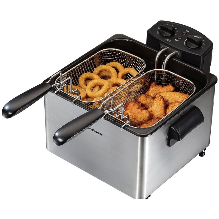 Hamilton Beach 35036 12-cup Professional-Style Deep Fryer, Silver stainless steel (Glass)