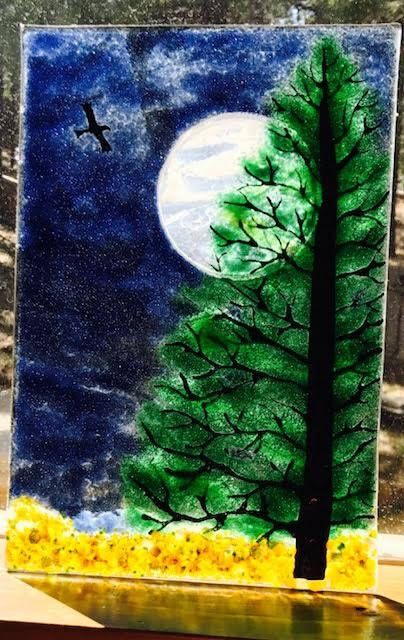 Fused Glass Big Moon Spruce Pine Tree Night sky Dichroic Moon by JudiHartmanGLASSART on Etsy https://www.etsy.com/listing/524897738/fused-glass-big-moon-spruce-pine-tree