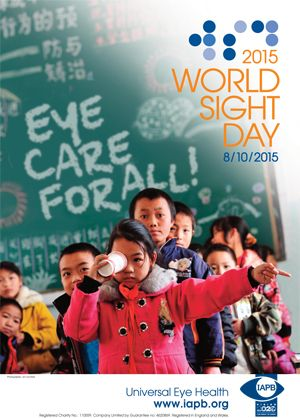 World Sight Day 2015 poster; Chinese students in a school getting their eyes tested