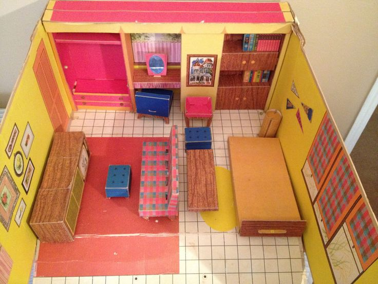 1962 Barbie Dream House Vintage Cardboard Dollhouse W: 41 Best Images About Barbie Dollhouses/pools On Pinterest