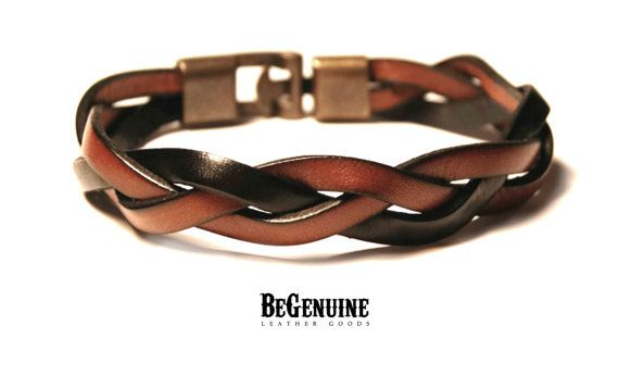 Mens Leather bracelet - Saddle Brown and Black - Dad Birthday Gift - Men jewelry - Men leather bangle - Braided Leather Bracelet - Trending