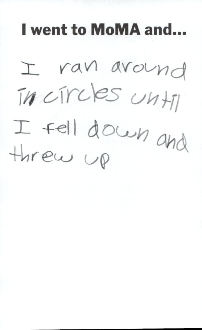One kid's comment card for the Museum of Modern Art.