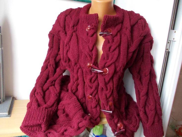 superbe veste duffle coat femme torsades tricot fait main manteaux manteau duffel et tricot. Black Bedroom Furniture Sets. Home Design Ideas