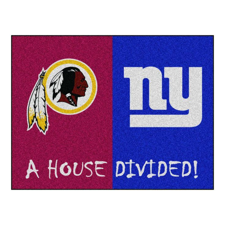 NFL Redskins / Giants Burgundy House Divided 2 ft. 10 in. x 3 ft. 9 in. Accent Rug, Red/Blue