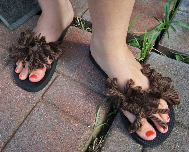 Hobbit feet flip flops!