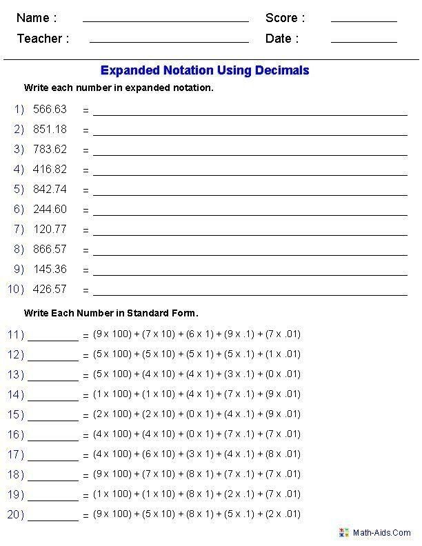 Decimal Expanded Form Worksheet Expanded Notation Using Decimals Place Value Worksheets Decimal Matematika Kelas 4 Matematika