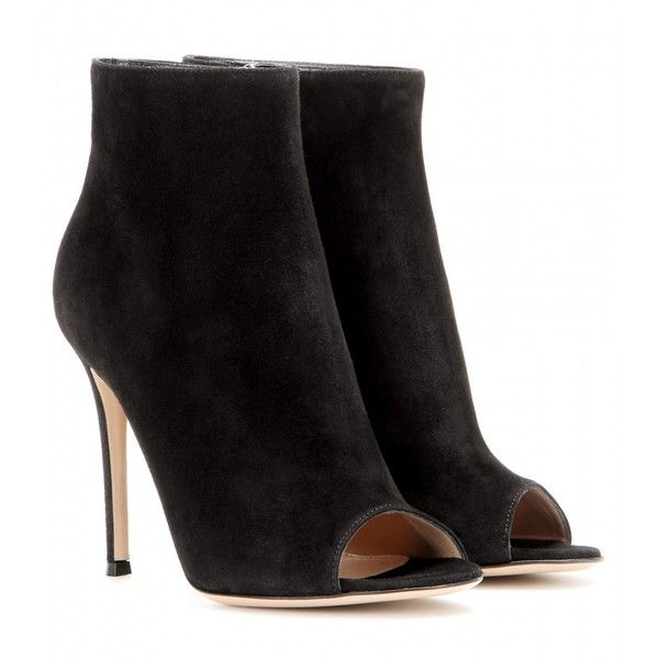 Gianvito Rossi Suede Peep-Toe Ankle Boots (5.250 DKK) ❤ liked on Polyvore featuring shoes, boots, ankle booties, heels, black, black suede ankle booties, suede ankle boots, black bootie, black ankle booties and suede booties