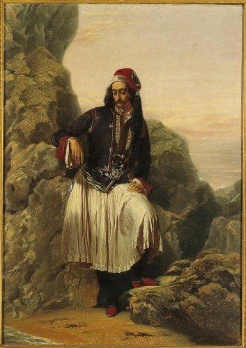Louis Dupré (1789-1837), Προσωπογραφία ενός Έλληνα με φουστανέλα. Πιθανόν να πρόκειται για τον προύχοντα του Aιγίου, Aνδρέα Λόντο (1786-1846), ο οποίος είχε φιλοξενήσει το λόρδο Bύρωνα, όταν επισκέφθηκε για πρώτη φορά την Eλλάδα, στα 1809. Circa 1830. Eλαιογραφία