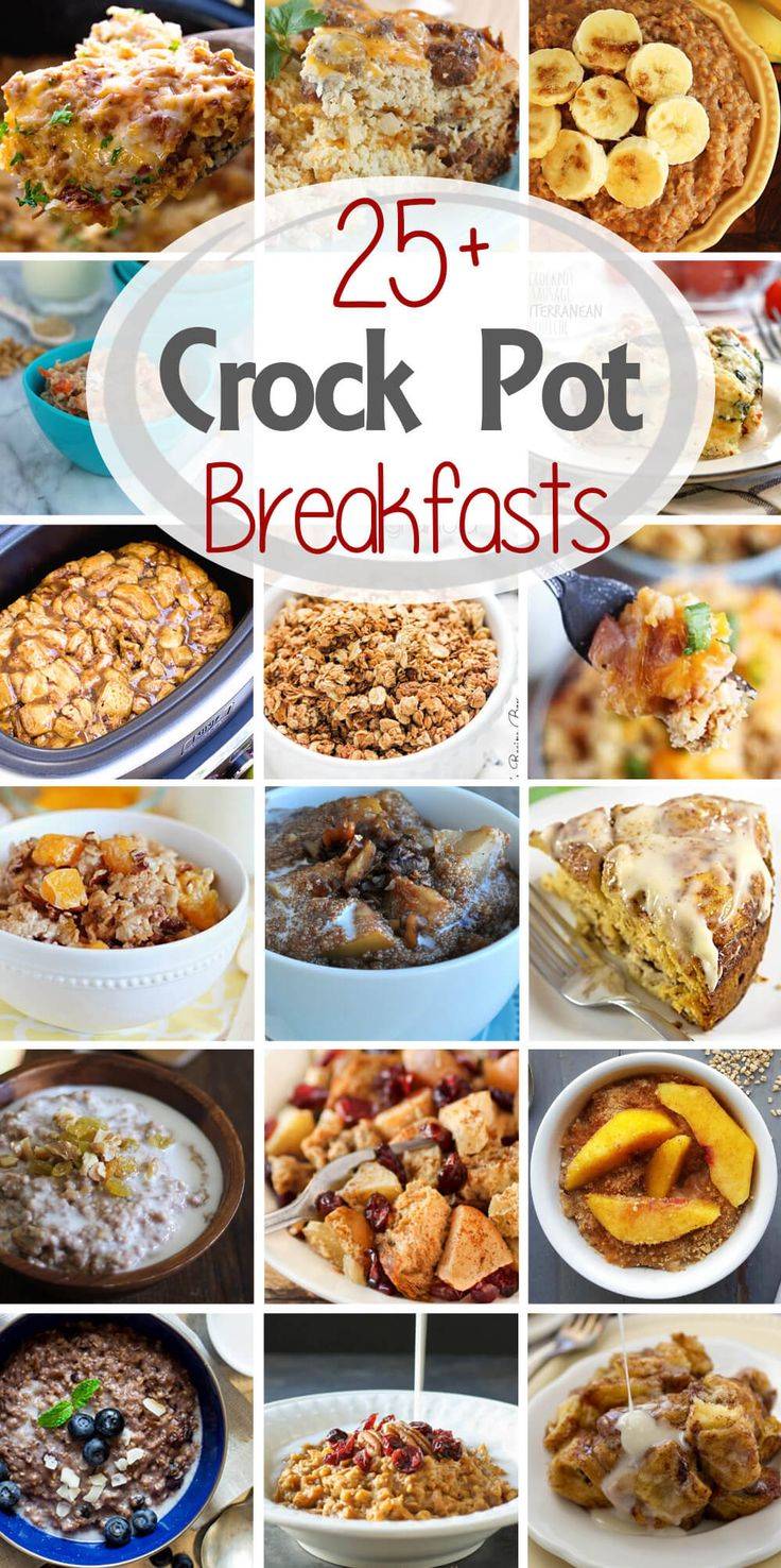 25+ Breakfast Crock Pot Recipes ~ Everything from cinnamon rolls, breakfast casseroles, oatmeal and a whole bunch of other amazing things! via @julieseats