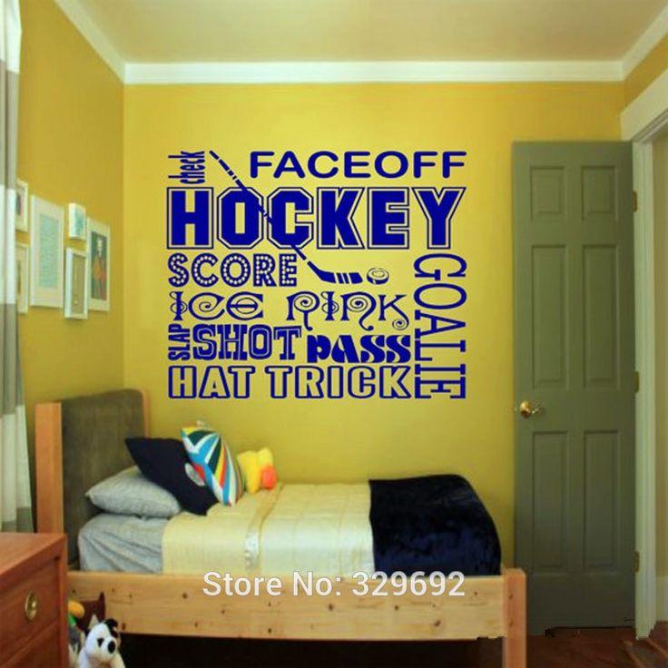 Pas cher Hockey sur Collage Wall Decal   Sports Wall art, Enfants room decor, Garçons chambre Wall Sticker vinyle mur devis, Acheter  Autocollants muraux de qualité directement des fournisseurs de Chine: