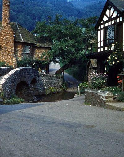 Allerford's medieval packhorse Bridge, Somerset, England