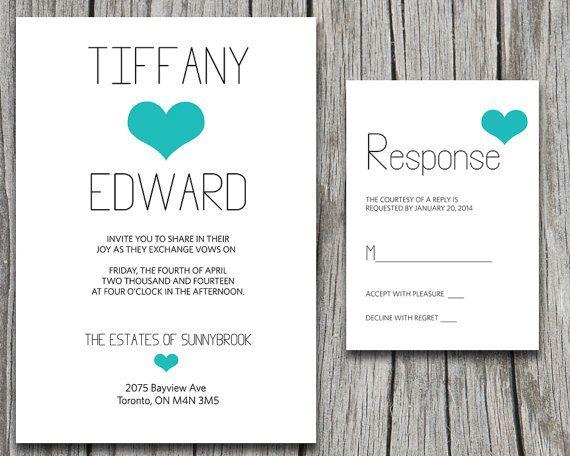 SPECIAL PACKAGE DISCOUNT Wedding Invite & Rsvp Suite - Typography Heart Microsoft Word Template - Simple Modern Wedding - Printable Black  by PaintTheDayDesigns, $17.00