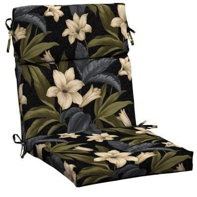 Hampton Bay Black Tropical Blossom Outdoor Dining Chair Cushion JC19062B 9D6    The Home Depot