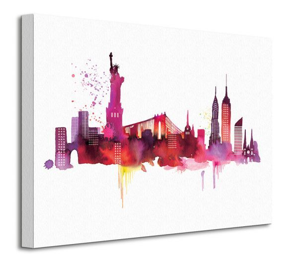 Perspektywa obrazu na płótnie przedstawiającego panoramę Nowego Yorku