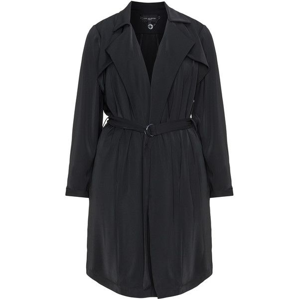 Live Unlimited London Black Plus Size Satin coat ($105) ❤ liked on Polyvore featuring outerwear, coats, black, plus size, knee length trench coat, plus size trench coat, plus size coats, plus size women's trench coat and satin coat