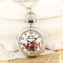 14 Digital Small Red Rose White Enamel Steel Necklace Digital Pocket Watches Relojes De Enfermeria Silicona