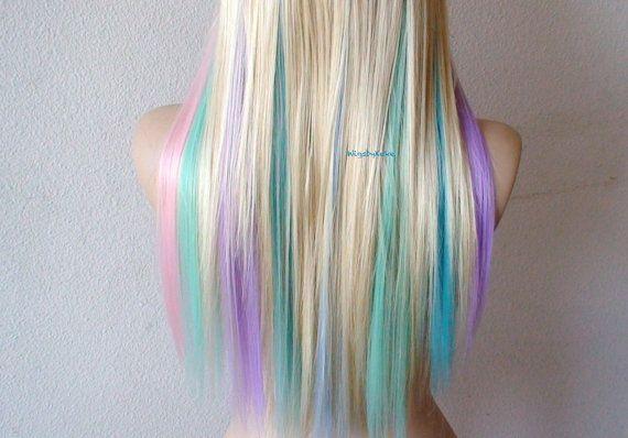 Perruque de cheveux de couleur blonde / Pastel. par kekeshop