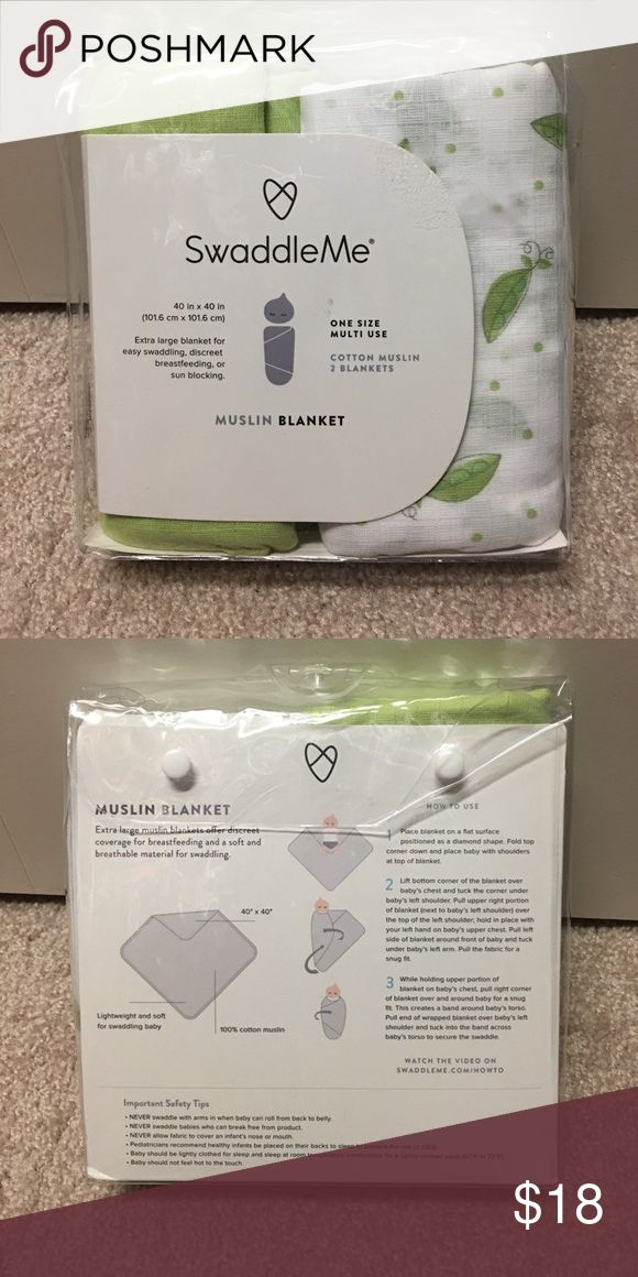 "SwaddleMe Blanket 👶🏻 SwaddleMe. Muslin Blanket. 40"" x 40"" Color: Green. SwaddleMe Accessories"