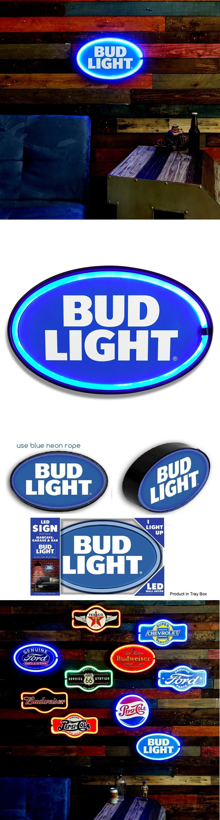Plaques and Signs 31587: Bud Light Led Neon Lighted 16 Sign, Battery Or Usb, Garage, Bar, Home, Man Cave -> BUY IT NOW ONLY: $34.99 on eBay!