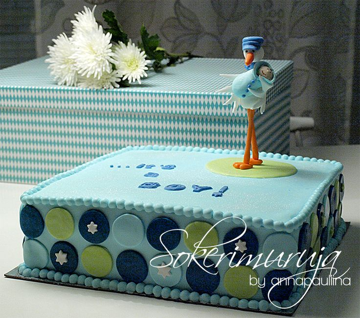 Baby boy's cake with stork topper. by Sokerimuruja