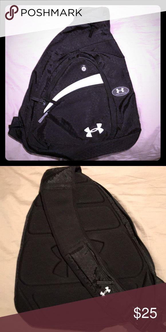 Under Armour single strap backpack Black and white Under Armour single cross body back pack. Like new. Under Armour Bags Backpacks