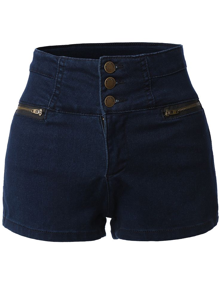 These high waisted sailor nautical denim jean shorts with stretch are a must have for this season! These nautical inspired shorts provide a high rise fit with moderate stretch; perfect if you are alwa