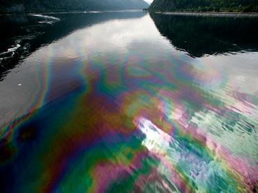 oil spill in yenisei river, siberia