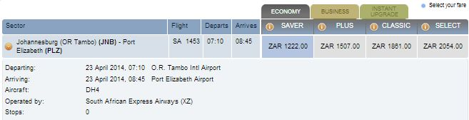 To find out which airline you're booking with on SAA, click the price (it'll then show Mango/SA Express...)