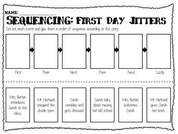 Sequencing sheets for First Day Jitters and Last Day Blues