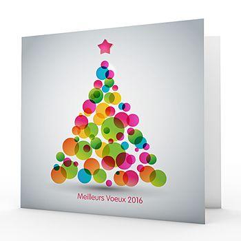 Cartes de Voeux Professionnels - Sapin à bulles colorées - 1                                                                                                                                                                                 Plus