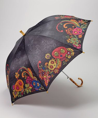 Another great find on #zulily! Black Sugar Skull Umbrella by Karma #zulilyfinds