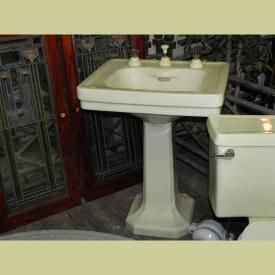 VINTAGE PALE YELLOW PEDESTAL SINK BY STANDARD WITH INTEGRATED?