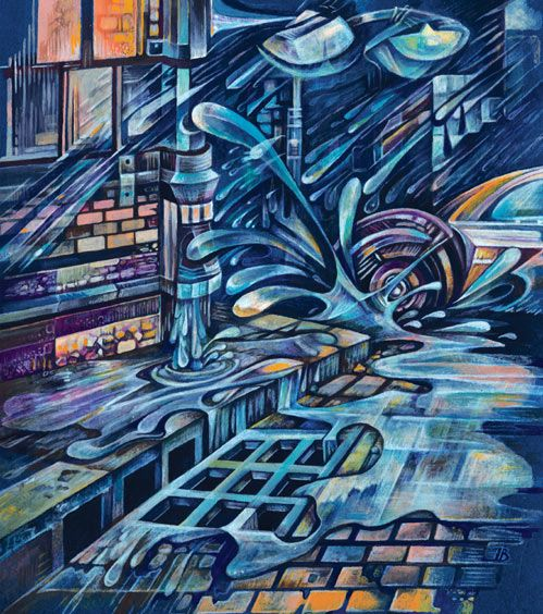 """Rain city "" by Inga Burina, acrylic #elementEdenArtsearch"
