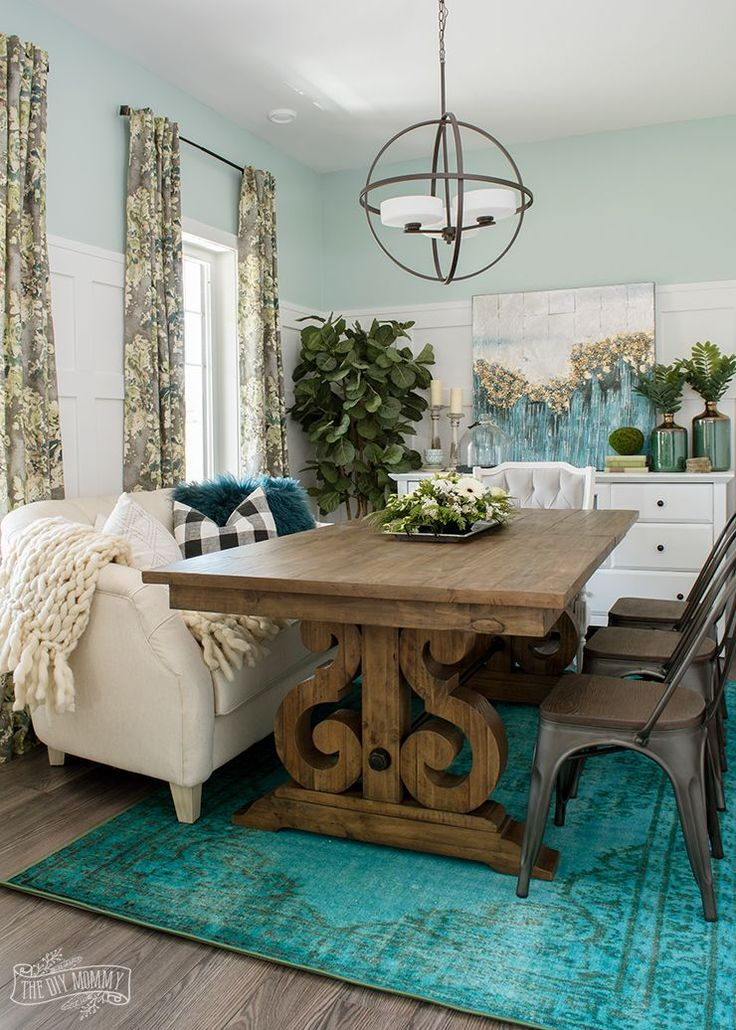 Eclectic Boho Farmhouse Dining Room Design In Teal, Black And White Part 85