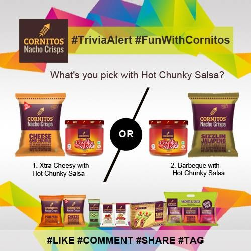 #TriviaAlert #FunWithCornitos #HotChunkySalsa What's you pick with CORNITOS! Hot Chunky Salsa? #LIKE #COMMENT #SHARE #TAG