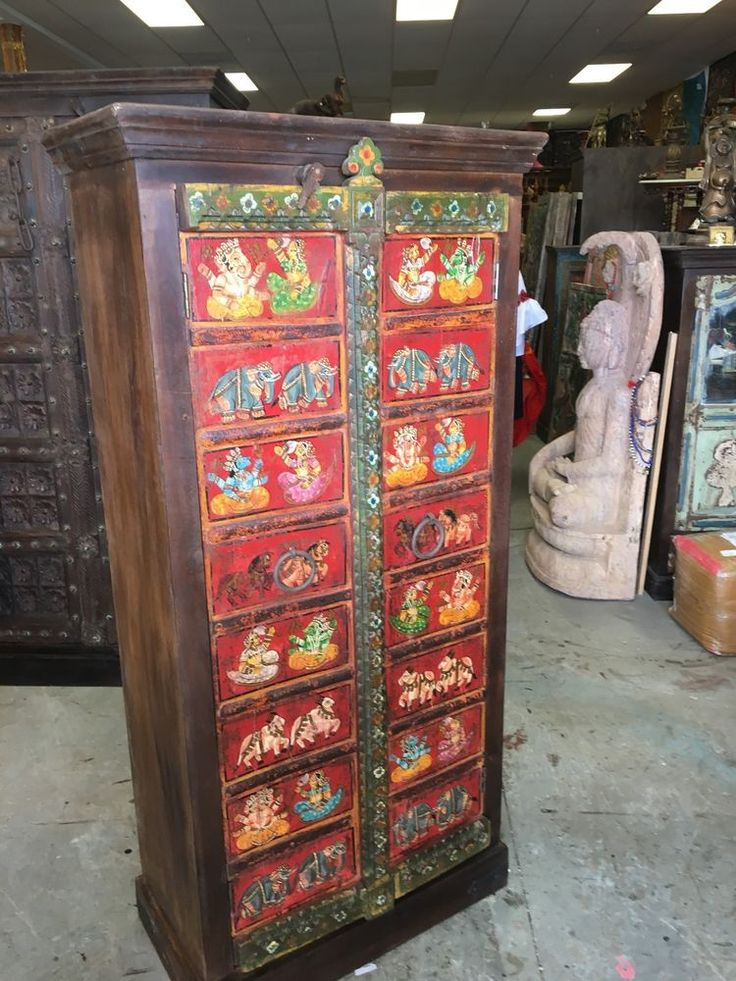 IndianAntique Traditional Wardrobe Hand Painted Ganesha Bohemian Cabinet Armoire