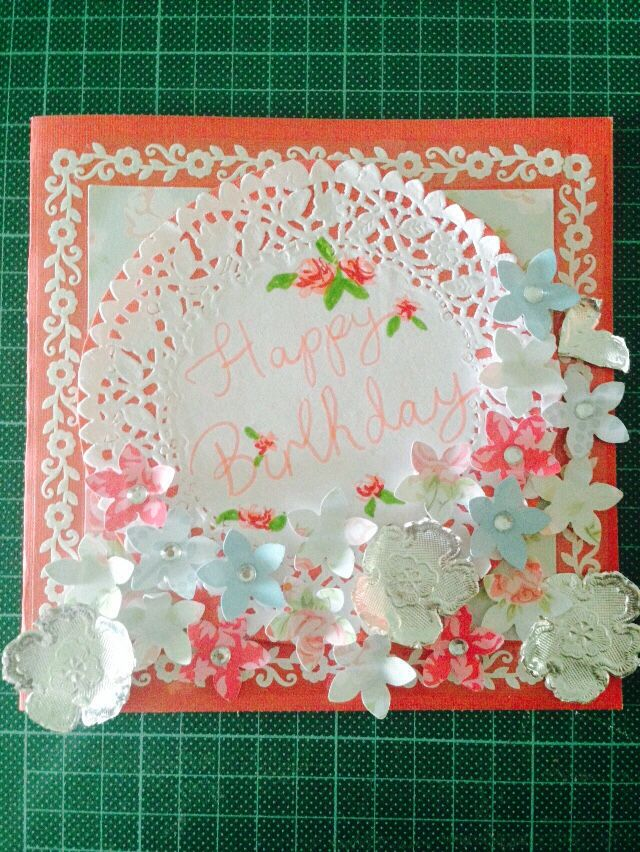 Vintage rose style birthday card for one of my grandmother's friends.