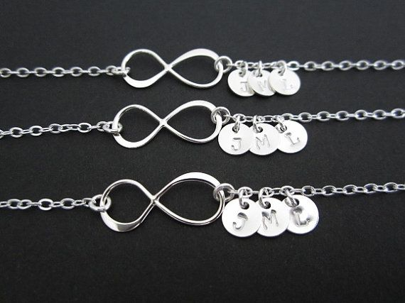 Three Infinity Bracelet Set. Personalized Jewelry. 3 Silver Initial Charms. Best Friend Gift. Three Sister Bracelet Set. Infinity Bracelet on Etsy, $75.00