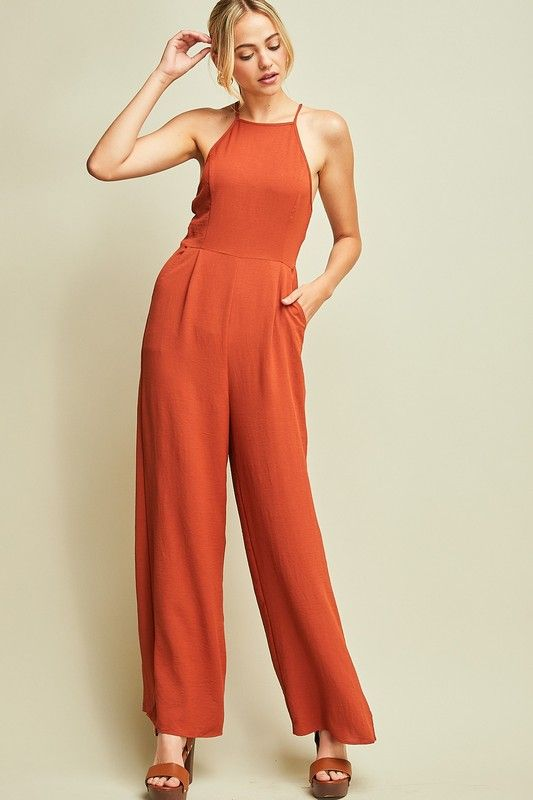 28c9eb4af7ac kendall rust orange jumpsuit with open back. fall outfit