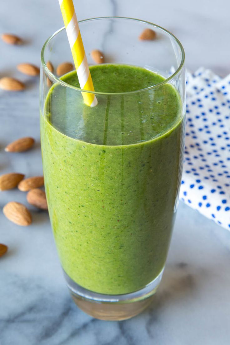 Almond Butter Spinach Smoothie - Almond butter, spinach, almond milk, banana, pineapple chunks, chia or flax seeds
