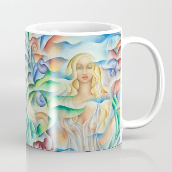 Ceramic Mug. Design based on an oil painting by Monique Rebelle. Available in 11 and 15 ounce sizes, our premium ceramic coffee mugs feature wrap-around art and large handles for easy gripping. Dishwasher and microwave safe, these cool coffee mugs will be your new favorite way to consume hot or cold beverages.  #ceramiccoffeemug #muggiftidea #coffeecup #mugart #flowerpainting #empress #goddessart #female #flowerdesign