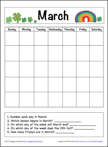 March Calendar for Kids (Free Printable) - Buggy and Buddy