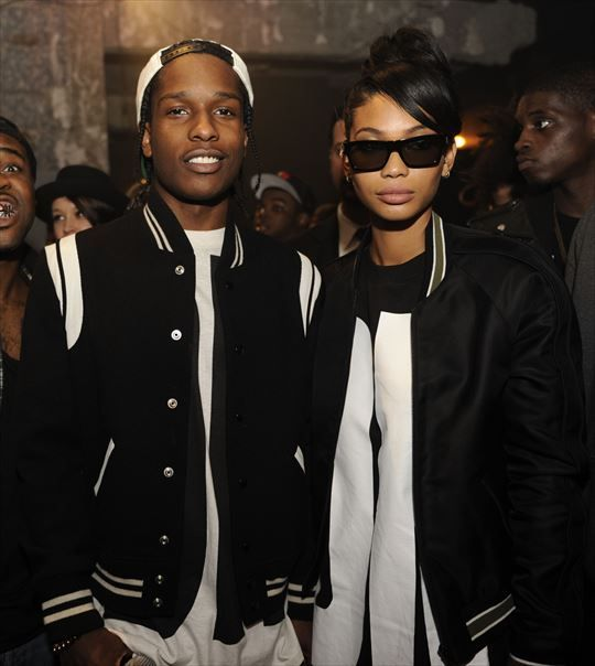 ASAP Rocky and supermodel girlfriend Chanel Iman at DKNY's 25th Anniversary Birthday Party. Photo via Shadow PR by Jamie McCarthy / Wire Image