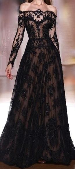 Black lace gown