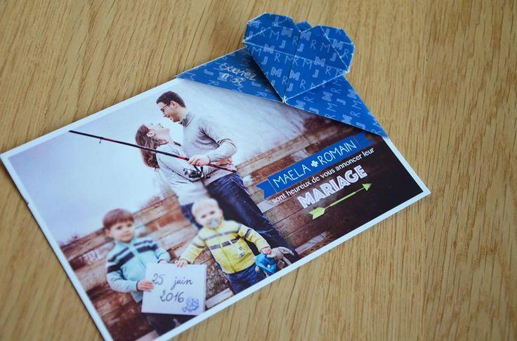 Faire part mariage Maela et Romain - création unique - origami - wedding - card - 100% personnalisé - pictos - programme  https://www.facebook.com/lespetitsmooceane/