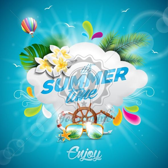 Vector Hello Summer Holiday typographic illustration with tropical plants, flower and hot air balloon on blue background. - Royalty Free Vector Illustration