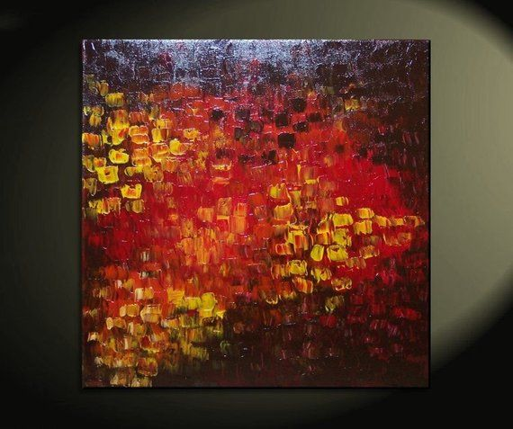 Big Abstract Textured Painting Red Red Brown Orange Fall
